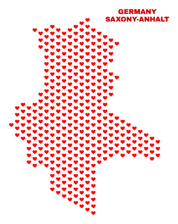 Mosaic Saxony-Anhalt Land map of love hearts in red color isolated on a white background. Regular red heart pattern in shape of Saxony-Anhalt Land map. Abstract design for Valentine illustrations. Stock Illustratie