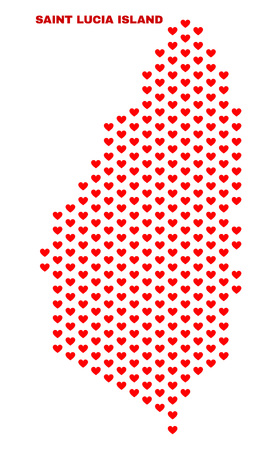 Mosaic Saint Lucia Island map of love hearts in red color isolated on a white background. Regular red heart pattern in shape of Saint Lucia Island map. Abstract design for Valentine decoration.