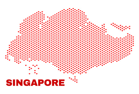 Mosaic Singapore map of heart hearts in red color isolated on a white background. Regular red heart pattern in shape of Singapore map. Abstract design for Valentine decoration.