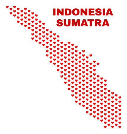Mosaic Sumatra map of valentine hearts in red color isolated on a white background. Regular red heart pattern in shape of Sumatra map. Abstract design for Valentine decoration. 向量圖像