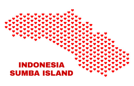 Mosaic Sumba Island map of heart hearts in red color isolated on a white background. Regular red heart pattern in shape of Sumba Island map. Abstract design for Valentine decoration. 向量圖像