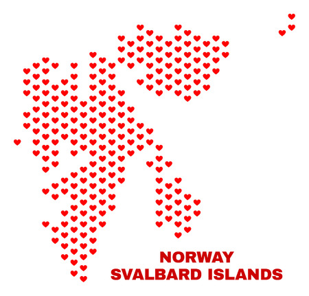 Mosaic Svalbard Islands map of heart hearts in red color isolated on a white background. Regular red heart pattern in shape of Svalbard Islands map. Abstract design for Valentine decoration.