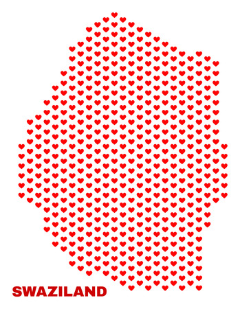 Mosaic Swaziland map of love hearts in red color isolated on a white background. Regular red heart pattern in shape of Swaziland map. Abstract design for Valentine decoration. 向量圖像