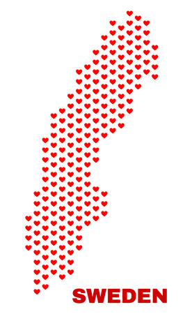 Mosaic Sweden map of valentine hearts in red color isolated on a white background. Regular red heart pattern in shape of Sweden map. Abstract design for Valentine illustrations.