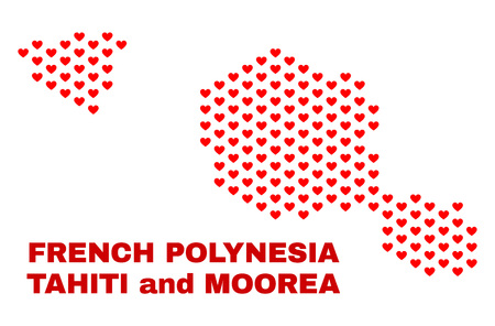 Mosaic Tahiti and Moorea islands map of love hearts in red color isolated on a white background. Regular red heart pattern in shape of Tahiti and Moorea islands map.