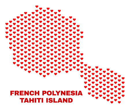 Mosaic Tahiti Island map of valentine hearts in red color isolated on a white background. Regular red heart pattern in shape of Tahiti Island map. Abstract design for Valentine decoration.