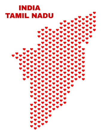 Mosaic Tamil Nadu State map of heart hearts in red color isolated on a white background. Regular red heart pattern in shape of Tamil Nadu State map. Abstract design for Valentine decoration.