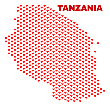 Mosaic Tanzania map of valentine hearts in red color isolated on a white background. Regular red heart pattern in shape of Tanzania map. Abstract design for Valentine illustrations. 向量圖像