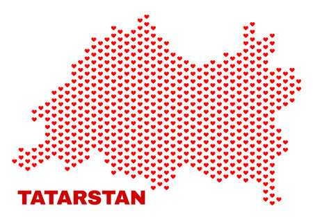 Mosaic Tatarstan map of love hearts in red color isolated on a white background. Regular red heart pattern in shape of Tatarstan map. Abstract design for Valentine illustrations.