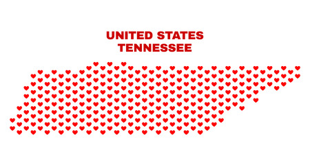 Mosaic Tennessee State map of love hearts in red color isolated on a white background. Regular red heart pattern in shape of Tennessee State map. Abstract design for Valentine illustrations. 向量圖像