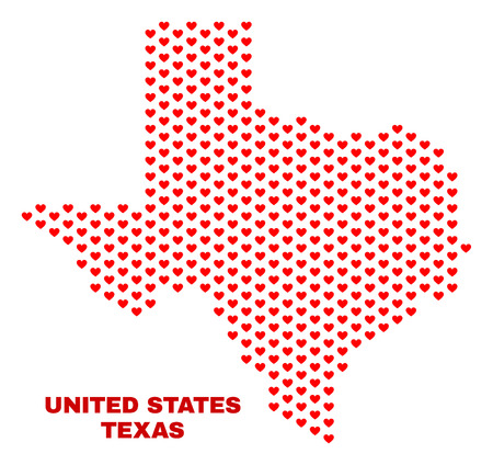 Mosaic Texas State map of valentine hearts in red color isolated on a white background. Regular red heart pattern in shape of Texas State map. Abstract design for Valentine illustrations.