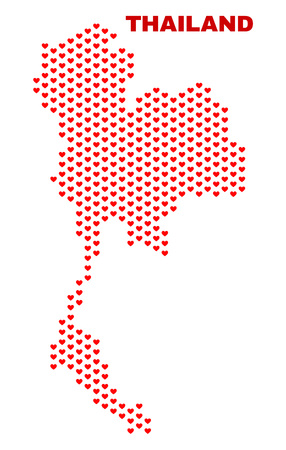 Mosaic Thailand map of heart hearts in red color isolated on a white background. Regular red heart pattern in shape of Thailand map. Abstract design for Valentine decoration. 向量圖像