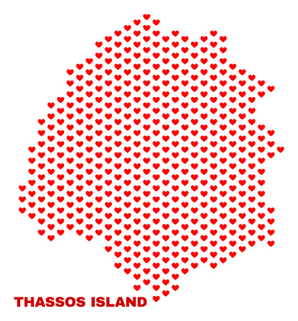 Mosaic Thassos Island map of valentine hearts in red color isolated on a white background. Regular red heart pattern in shape of Thassos Island map. Abstract design for Valentine illustrations.