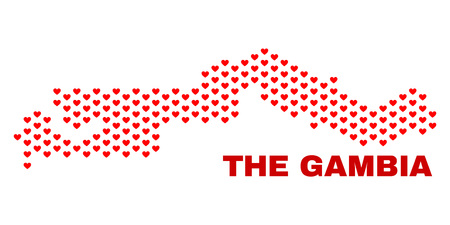 Mosaic the Gambia map of valentine hearts in red color isolated on a white background. Regular red heart pattern in shape of the Gambia map. Abstract design for Valentine decoration. 向量圖像