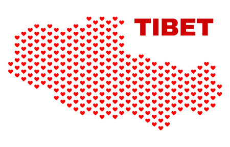 Mosaic Tibet map of heart hearts in red color isolated on a white background. Regular red heart pattern in shape of Tibet map. Abstract design for Valentine illustrations.