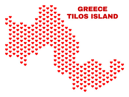 Mosaic Tilos Island map of heart hearts in red color isolated on a white background. Regular red heart pattern in shape of Tilos Island map. Abstract design for Valentine decoration.