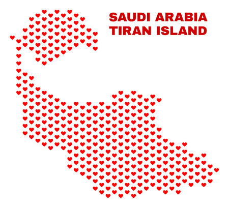 Mosaic Tiran Island map of heart hearts in red color isolated on a white background. Regular red heart pattern in shape of Tiran Island map. Abstract design for Valentine illustrations. 向量圖像