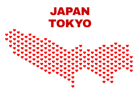 Mosaic Tokyo Prefecture map of love hearts in red color isolated on a white background. Regular red heart pattern in shape of Tokyo Prefecture map. Abstract design for Valentine decoration.