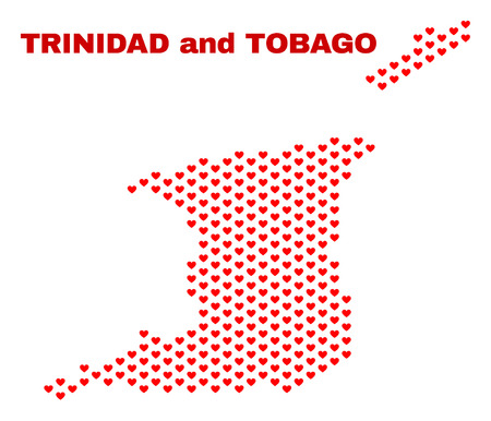 Mosaic Trinidad and Tobago map of love hearts in red color isolated on a white background. Regular red heart pattern in shape of Trinidad and Tobago map. Abstract design for Valentine illustrations.