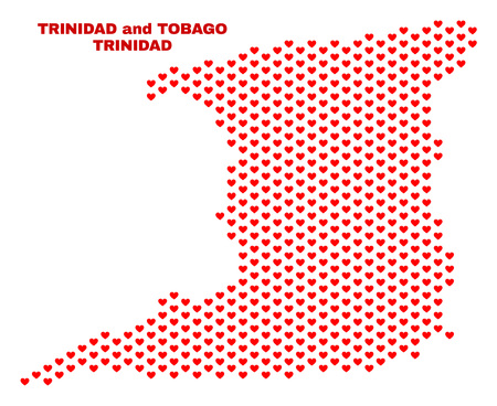 Mosaic Trinidad Island map of valentine hearts in red color isolated on a white background. Regular red heart pattern in shape of Trinidad Island map. Abstract design for Valentine illustrations.