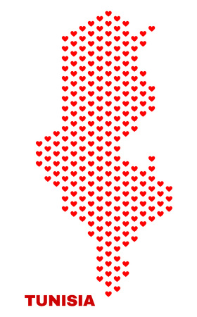 Mosaic Tunisia map of love hearts in red color isolated on a white background. Regular red heart pattern in shape of Tunisia map. Abstract design for Valentine illustrations.