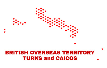 Mosaic Turks and Caicos Islands map of love hearts in red color isolated on a white background. Regular red heart pattern in shape of Turks and Caicos Islands map.