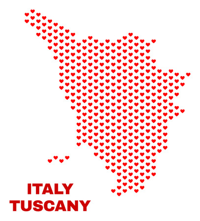 Mosaic Tuscany region map of heart hearts in red color isolated on a white background. Regular red heart pattern in shape of Tuscany region map. Abstract design for Valentine decoration.
