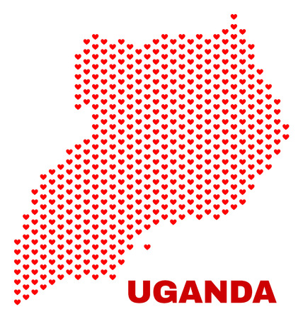 Mosaic Uganda map of heart hearts in red color isolated on a white background. Regular red heart pattern in shape of Uganda map. Abstract design for Valentine illustrations.