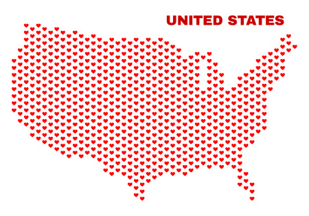 Mosaic United States map of valentine hearts in red color isolated on a white background. Regular red heart pattern in shape of United States map. Abstract design for Valentine illustrations. 向量圖像
