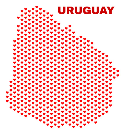 Mosaic Uruguay map of valentine hearts in red color isolated on a white background. Regular red heart pattern in shape of Uruguay map. Abstract design for Valentine illustrations.