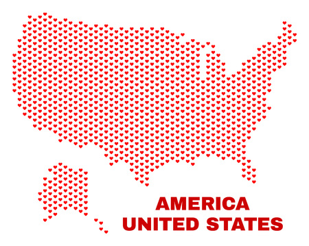 Mosaic USA with Alaska map of love hearts in red color isolated on a white background. Regular red heart pattern in shape of USA with Alaska map. Abstract design for Valentine decoration.