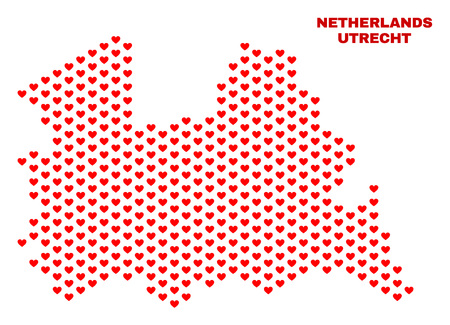 Mosaic Utrecht Province map of valentine hearts in red color isolated on a white background. Regular red heart pattern in shape of Utrecht Province map. Abstract design for Valentine decoration.