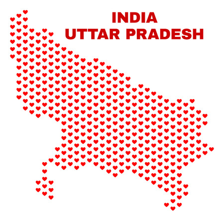 Mosaic Uttar Pradesh State map of heart hearts in red color isolated on a white background. Regular red heart pattern in shape of Uttar Pradesh State map. Abstract design for Valentine illustrations.