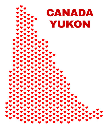 Mosaic Yukon Province map of love hearts in red color isolated on a white background. Regular red heart pattern in shape of Yukon Province map. Abstract design for Valentine decoration.