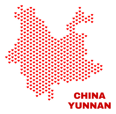 Mosaic Yunnan Province map of valentine hearts in red color isolated on a white background. Regular red heart pattern in shape of Yunnan Province map. Abstract design for Valentine decoration. 向量圖像