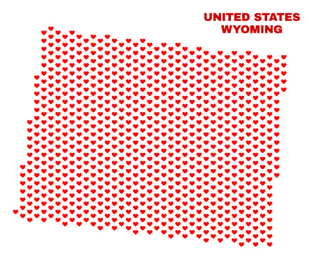 Mosaic Wyoming State map of valentine hearts in red color isolated on a white background. Regular red heart pattern in shape of Wyoming State map. Abstract design for Valentine decoration.