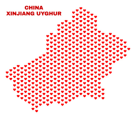 Mosaic Xinjiang Uyghur Region map of valentine hearts in red color isolated on a white background. Regular red heart pattern in shape of Xinjiang Uyghur Region map.