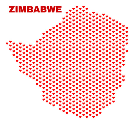 Mosaic Zimbabwe map of valentine hearts in red color isolated on a white background. Regular red heart pattern in shape of Zimbabwe map. Abstract design for Valentine illustrations.