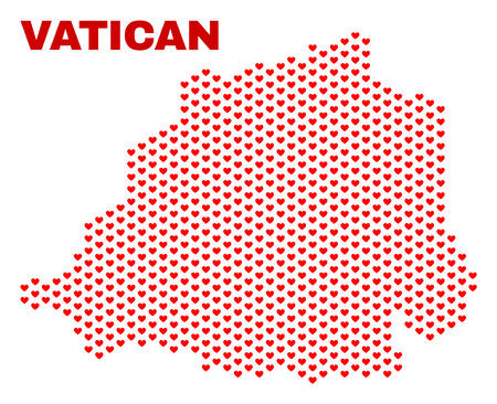 Mosaic Vatican map of valentine hearts in red color isolated on a white background. Regular red heart pattern in shape of Vatican map. Abstract design for Valentine decoration. Illustration