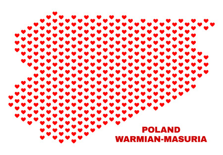 Mosaic Warmian-Masurian Voivodeship map of heart hearts in red color isolated on a white background. Regular red heart pattern in shape of Warmian-Masurian Voivodeship map. 向量圖像