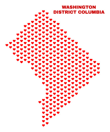 Mosaic Washington District Columbia map of valentine hearts in red color isolated on a white background. Regular red heart pattern in shape of Washington District Columbia map. 向量圖像