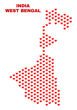 Mosaic West Bengal State map of valentine hearts in red color isolated on a white background. Regular red heart pattern in shape of West Bengal State map. Abstract design for Valentine illustrations.