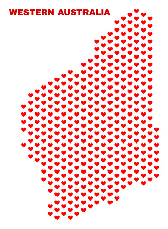 Mosaic Western Australia map of heart hearts in red color isolated on a white background. Regular red heart pattern in shape of Western Australia map. Abstract design for Valentine decoration.