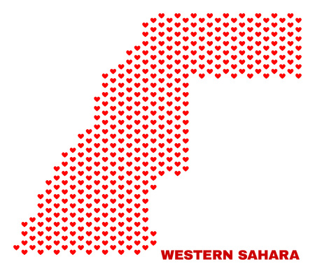 Mosaic Western Sahara map of love hearts in red color isolated on a white background. Regular red heart pattern in shape of Western Sahara map. Abstract design for Valentine illustrations.