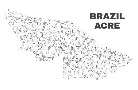 Acre State map designed with small points. Vector abstraction in black color is isolated on a white background. Random small particles are organized into Acre State map.