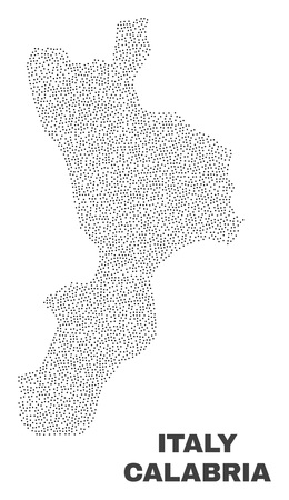 Calabria region map designed with little dots. Vector abstraction in black color is isolated on a white background. Random little dots are organized into Calabria region map.