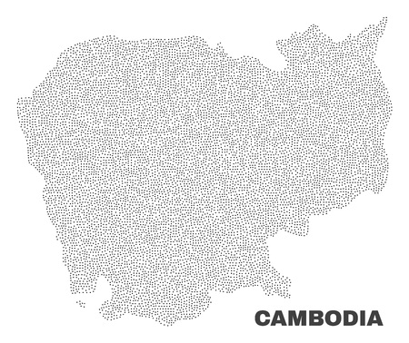 Cambodia map designed with little points. Vector abstraction in black color is isolated on a white background. Scattered little points are organized into Cambodia map.