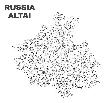 Altai Republic map designed with small dots. Vector abstraction in black color is isolated on a white background. Scattered tiny dots are organized into Altai Republic map.