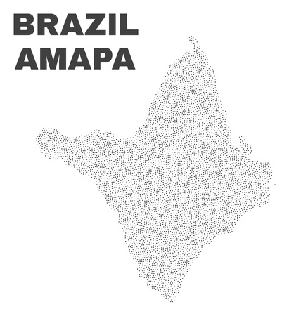 Amapa state map designed with little dots. Vector abstraction in black color is isolated on a white background. Random little dots are organized into Amapa state map.