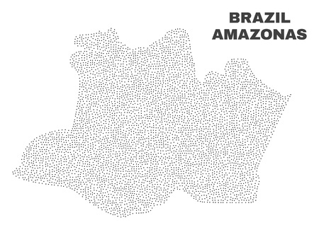 Amazonas State map designed with little dots. Vector abstraction in black color is isolated on a white background. Random little dots are organized into Amazonas State map. 일러스트